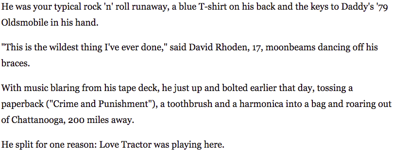 screenshot of excerpt from article interviewing David Rhoden about Athens music