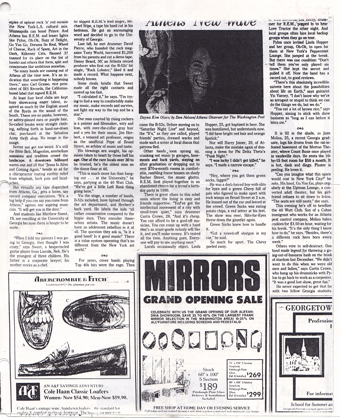 old xerox of article interviewing David Rhoden about Athens music, page 1