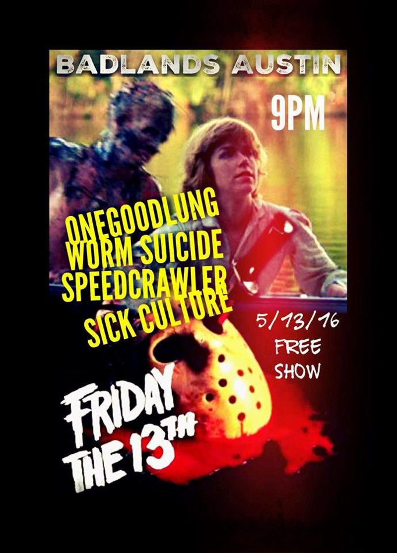 Speedcrawler and other bands at Badlands, Austin May 13 2016 flyer