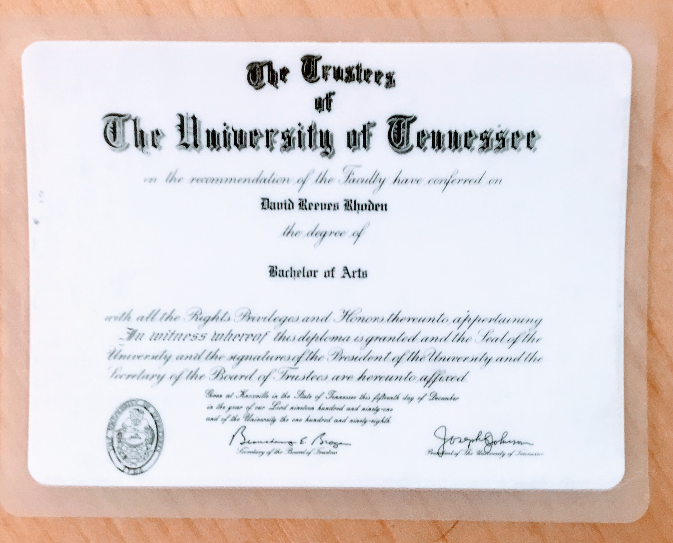 My college diploma, laminated