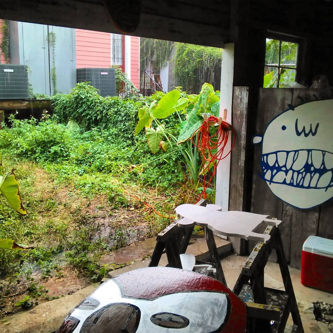 my shed at 321 Clark Street in the rain