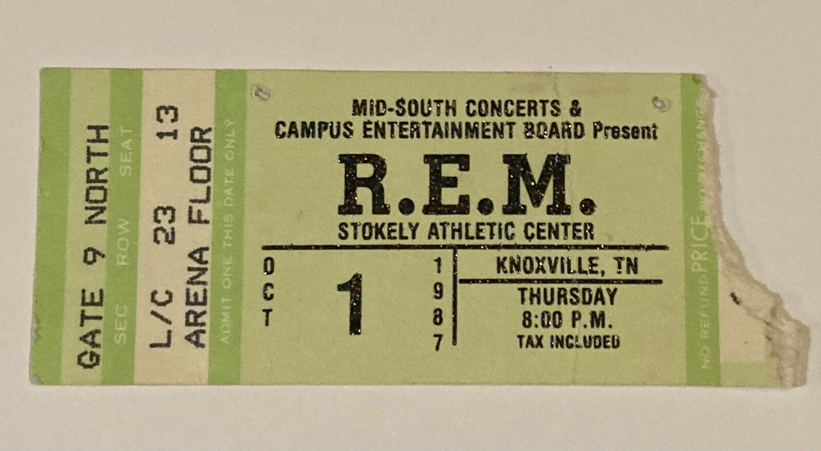 Saw R.E.M. at Stokley Athletic center at the University of Tennessee.